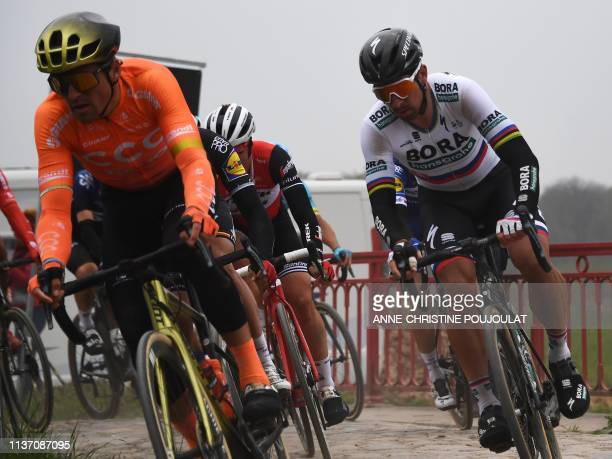 Slovakia's Peter Sagan competes during the 117th edition of the ParisRoubaix oneday classic cycling race between Compiegne and Roubaix near Wallers...