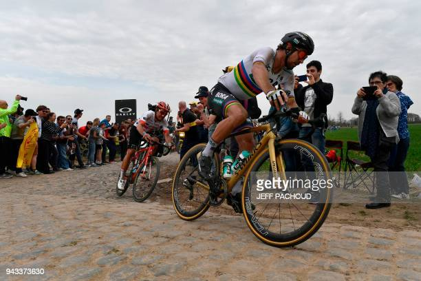 TOPSHOT Slovakia's Peter Sagan competes to win the 116th edition of the ParisRoubaix oneday classic cycling race between Compiegne and Roubaix on...