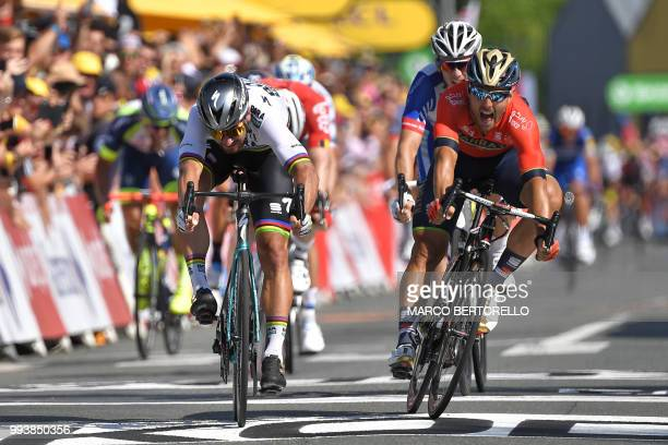 Slovakia's Peter Sagan crosses the finish line ahead of Italy's Sonny Colbrelli and France's Arnaud Demare to win the second stage of the 105th...