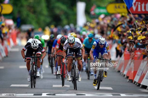 Slovakia's Peter Sagan sprints to win ahead of Australia's Michael Matthews Belgium's Greg Van Avermaet and Ireland's Daniel Martin at the end of the...