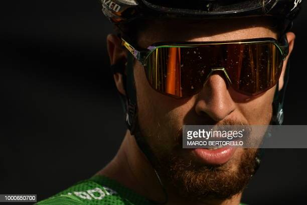 Slovakia's Peter Sagan wearing the best sprinter's green jersey is pictured after the tenth stage of the 105th edition of the Tour de France cycling...