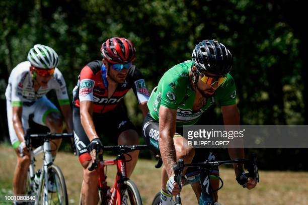 Slovakia's Peter Sagan wearing the best sprinter's green jersey Italy's Damiano Caruso and France's Warren Barguil ride during a fivemen breakaway in...