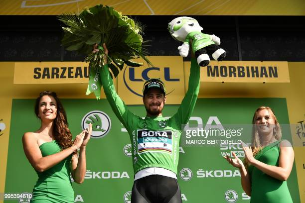 Slovakia's Peter Sagan wearing the best sprinter's green jersey celebrates on the podium after the fourth stage of the 105th edition of the Tour de...