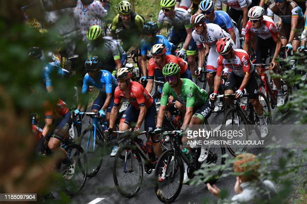 Slovakia's Peter Sagan , wearing the best sprinter's green jersey rides in the pack during the sixth stage of the 106th edition of the Tour de France...