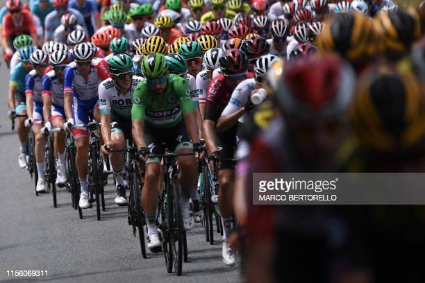 Slovakia's Peter Sagan , wearing the best sprinter's green jersey rides in the pack during the eleventh stage of the 106th edition of the Tour de...