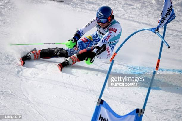 Slovakia's Petra Vhlova clears a gate on her way to win in the Women's parallel slalom race at the FIS Alpine ski World Cup in St Moritz on December...