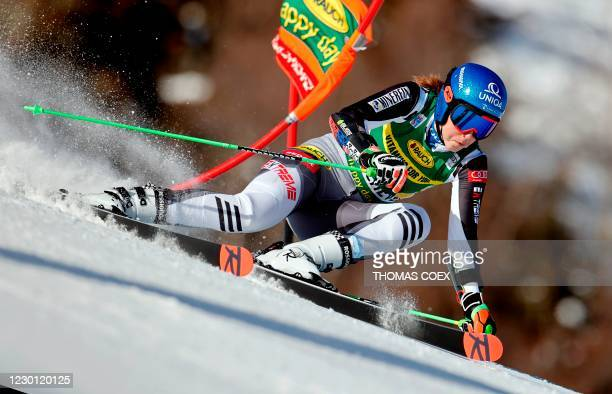 Slovakia's Petra Vlhova competes during the first run of the women's giant slalom event during the FIS Alpine Ski World Cup in Courchevel, French...