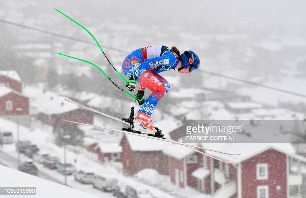Slovakia's Petra Vlhova competes during the Women's Combined Downhill event of the 2019 FIS Alpine Ski World Championships at the National Arena in...