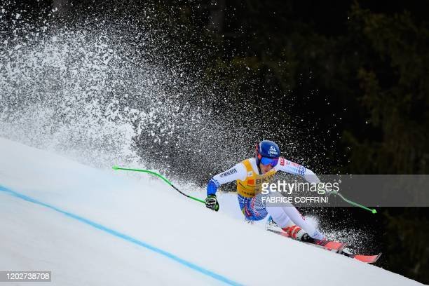 Slovakia's Petra Vlhova competes during the women's Super-G event at the FIS Alpine Ski World Cup Combined in Crans-Montana on February 23, 2020.