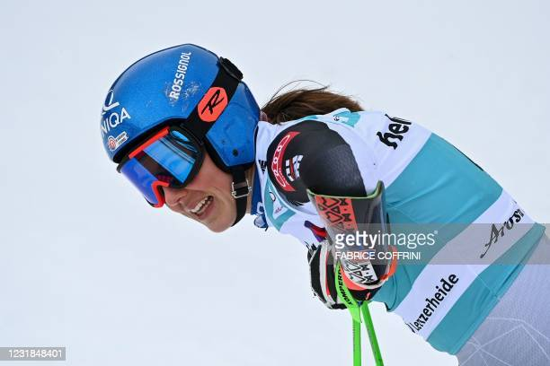 Slovakia's Petra Vlhova reacts in the finishing area after competing in the second run of the Women's Giant Slalom event during the FIS Alpine ski...