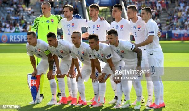 Slovakia's players poses for the team photo to the UEFA U21 European Championship Group A football match Slovakia vs England in Kielce Poland on June...