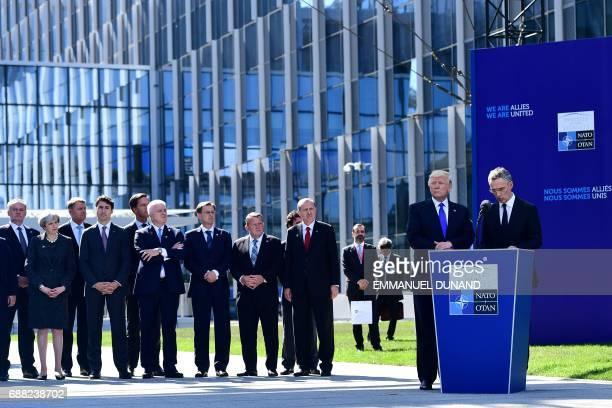 Slovakia's President Andrej Kiska Britain's Prime Minister Theresa May Romanian President Klaus Werner Iohannis Canadian Prime Minister Justin...