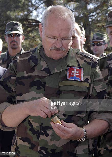 Slovakia's President Ivan Gasparovic puts salt on his bread as he attends the Slovak multiple-function battalion from Hlohovec's military exercise in...