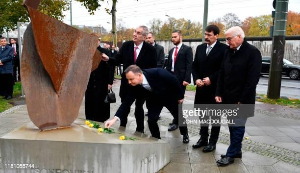 Slovakia's President Zuzana Caputova Czech President Milos Zeman Polish President Andrzej Duda Hungarian President Janos Ader and German President...