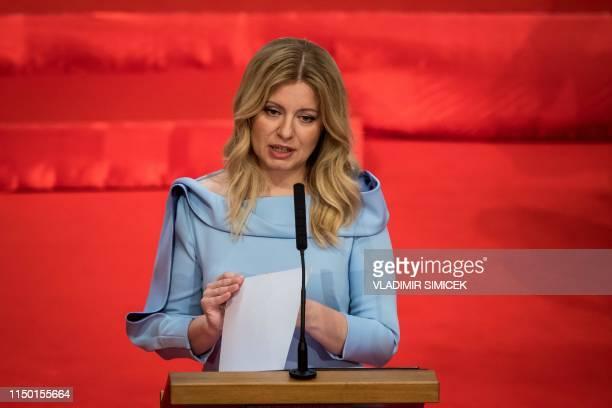 Slovakia's Presidentelect Zuzana Caputova gives a speech during her inauguration ceremony in Bratislava Slovakia on June 15 2019