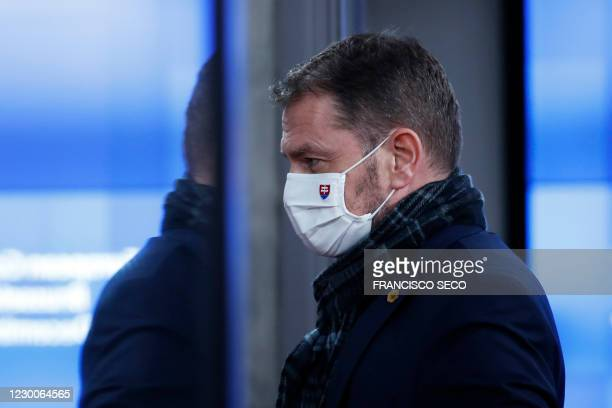 Slovakia's Prime Minister Igor Matovic leaves at the end of an EU summit at the European Council building in Brussels, on December 11, 2020.