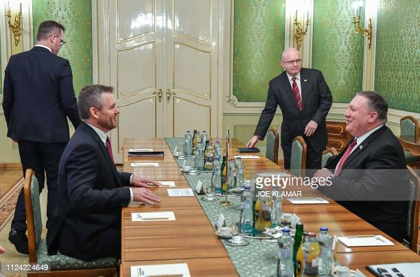Slovakia's Prime Minister Peter Pellegrini and US Secretary of State Mike Pompeo hold talks on February 12 in Bratislava Slovakia during Pompeo's...