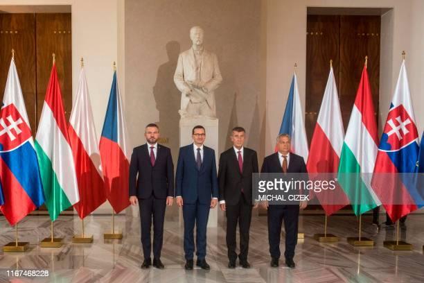 Slovakia's Prime Minister Peter Pellegrini Polish Prime Minister Mateusz Morawiecki Czech Prime Minister Andrej Babis and Hungarian Prime Minister...