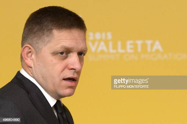 Slovakia's Prime minister Robert Fico arrives for the second working session of the European Union - Africa Summit on Migration at the Meditterranean...