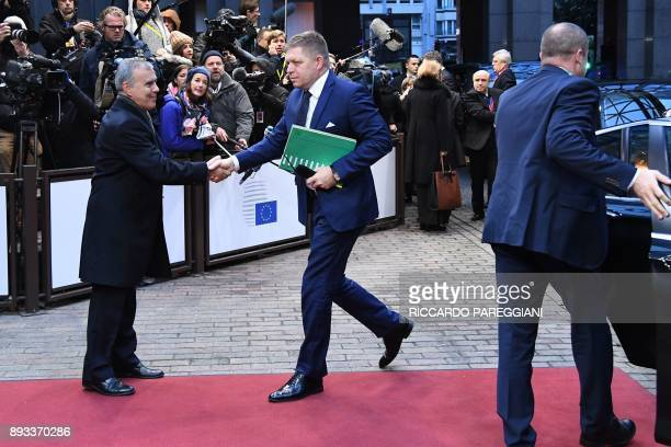 Slovakia's Prime minister Robert Fico arrives to attend an EU summit at which 27 European leaders are to approve opening the next phase of Brexit...