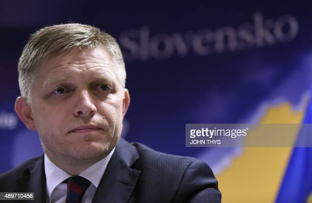 Slovakia's Prime Minister Robert Fico speaks at the end of an extraordinary leaders' summit on migrants at the European Council in Brussels September...