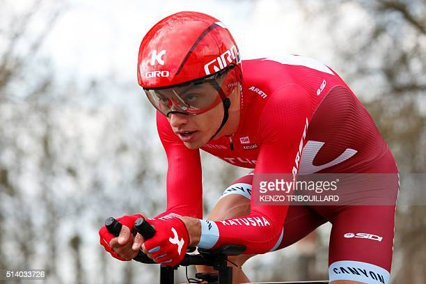 Slovakia's Simon Spilak competes during the 61 km individual timetrial of the opening prologue of the 74th edition of the ParisNice cycling race on...