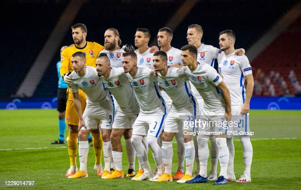Slovakia's team line up during a Nations League match between Scotland and Slovakia at Hampden Park, on October 11 2020, in Glasgow, Scotland