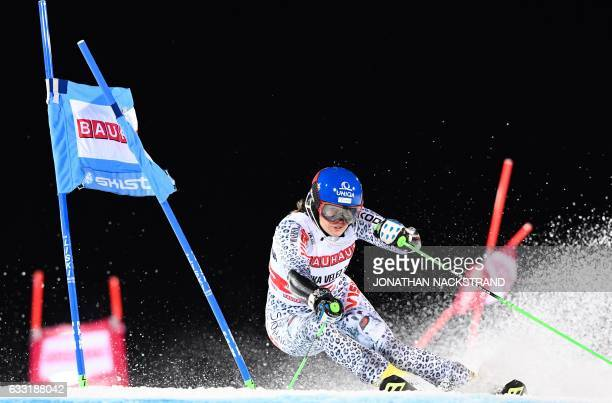 Slovakia's Veronika Velez Zuzul competes during the FIS Ski World Cup Parallel Slalom city event at Hammarbybacken in Stockholm on January 31, 2017....