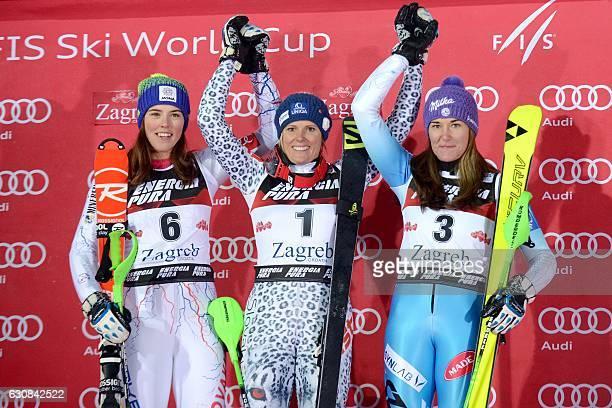 Slovakia's winner Veronika Velez Zuzulova Slovakia's second placed Petra Vlhova and third placed Czech Republic's Sarka Strachova celebrate on the...