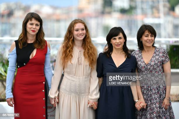 SlovakItalian actress Barbora Babulova French actress Charlotte Cetaire Italian director Annarita Zambrano and French actress Marilyne Canto pose on...
