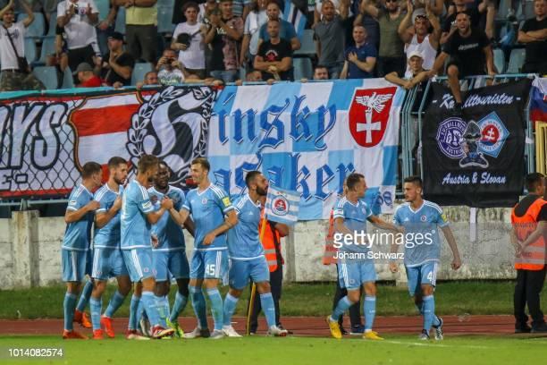 Slovan Bratislava players celebrate a goal during the UEFA Europa League third Qualifying Round 1st Leg match between Slovan Bratislava v SK Rapid...