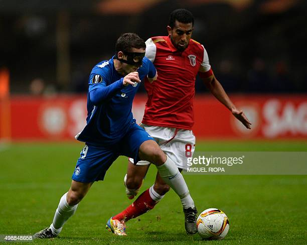 Slovan Liberec's midfielder Herolind Shala vies with Sporting Braga's Brazilian defender Marcelo Goiano during the UEFA Europa League Group F...
