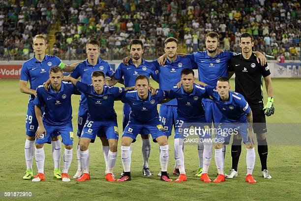 Slovan Liberec's starting eleven pose for a group picture ahead of the qualifying football match of the UEFA Europa League between AEK Larnaca and...