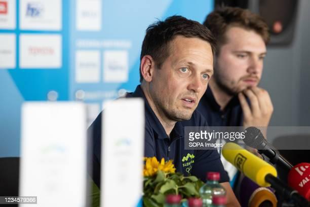 Slovenia basketball team coach Aleksander Sekulic attends a press conference upon the team's arrival at Ljubljana airport. Slovenia basketball team...