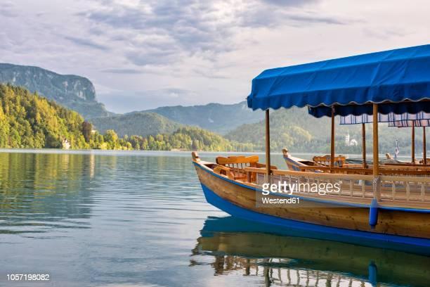 slovenia, bled,  boats on lake bled - bledsjön bildbanksfoton och bilder