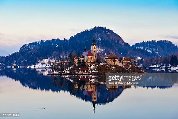Slovenia, Bled, Lake Bled and Julian Alps