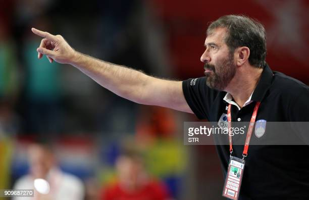 Slovenia coach Veselin Vujovic gestures during the group II match of the Men's 2018 EHF European Handball Championship between Slovenia and Czech...