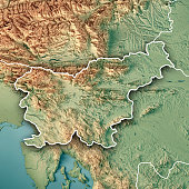 3d render topographic map country slovenia