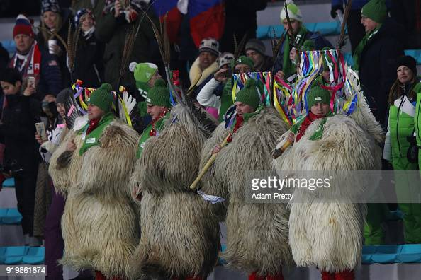 Slovenia fans cheer on their athletes during the Men's 15km