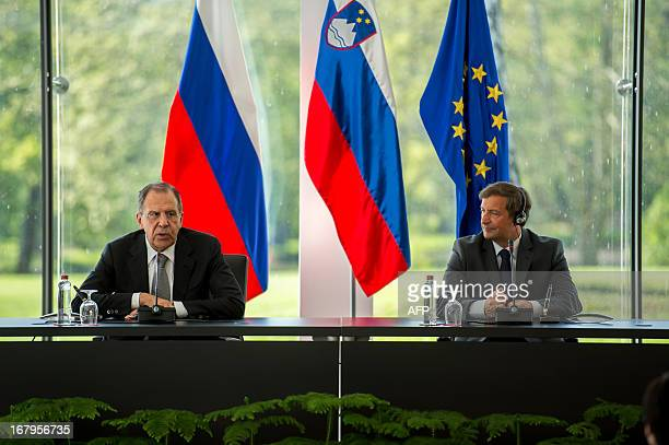 Slovenia Foreign Minister Karl Erjavec and his Russian counterpart Sergei Lavrov hold a press conference after their meeting in Brdo near Kranj on...