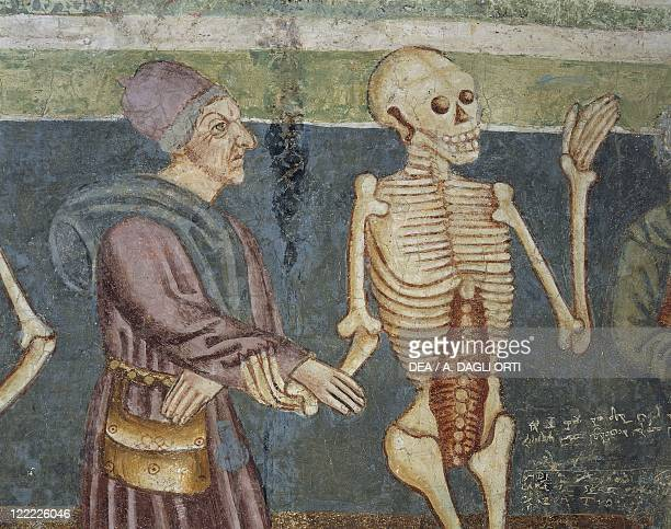 Slovenia Fortified church of Hrastovlje Detail of the fresco by Janez iz Kastva Danse Macabre or Dance of Death death and the doctor 1490