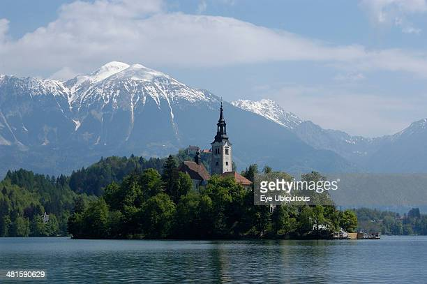 Slovenia Lake Bled View over the lake toward Bled Island and tower of the Church of the Assumption with snow capped peaks of the Julian Alps behind