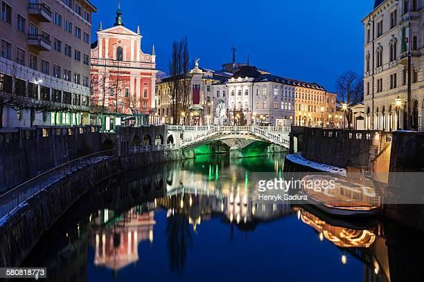 Slovenia, Ljubljana, Illuminated buildings and Ljubljanica River