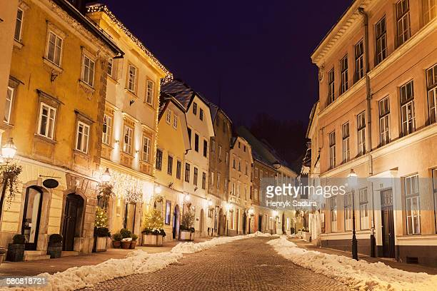 Slovenia, Ljubljana, Illuminated old town street