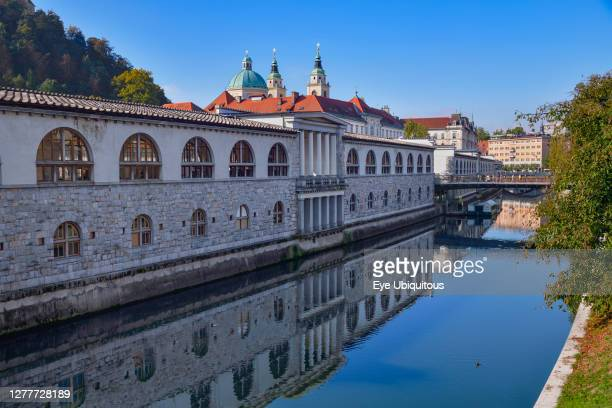 Slovenia, Ljubljana, Plecnik Colonnade and Central Market with the Cathedral of St Nicholas behind and the Ljubljanica River in the foreground.