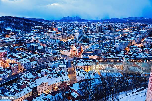 Slovenia, Ljubljana, Winter cityscape at dawn
