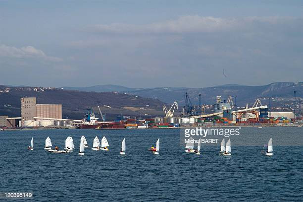 Slovenia on the Eve of its entry into the European Union in Slovenia in March 2004 Port of Koper General shot of the port taken off the coast with a...