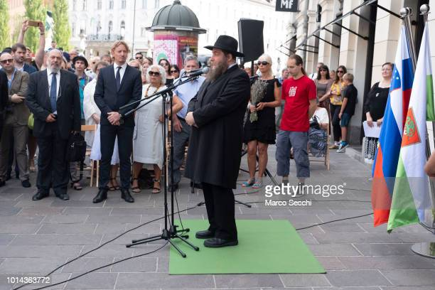 Slovenia Rabbi Ariel Haddid speaks ahead of the ceremony to lay a block installation in the city center to remember the Slovenian Jews killed in the...