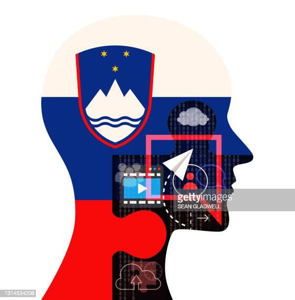 slovenia social media on white - スロベニア国旗 ストックフォトと画像
