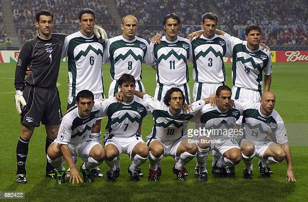 Slovenia team group taken before the FIFA World Cup Finals 2002 Group B match between Spain and Slovenia played at the Gwangju World Cup Stadium in...